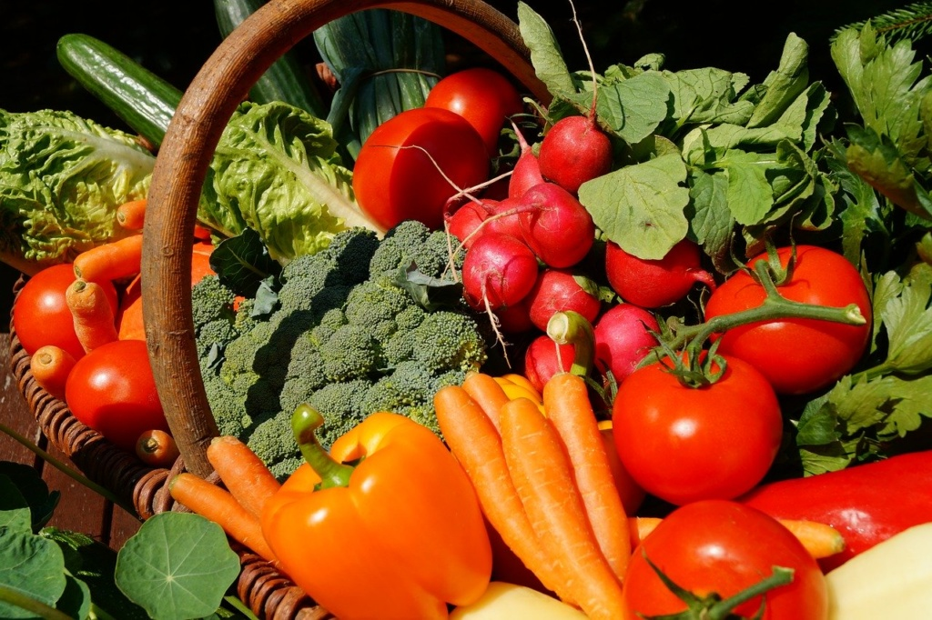 Korb mit Gemüse Tomaten Paprike Karroten